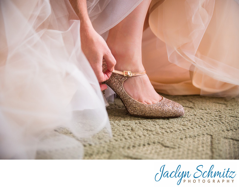 pink sparkle shoes for bride
