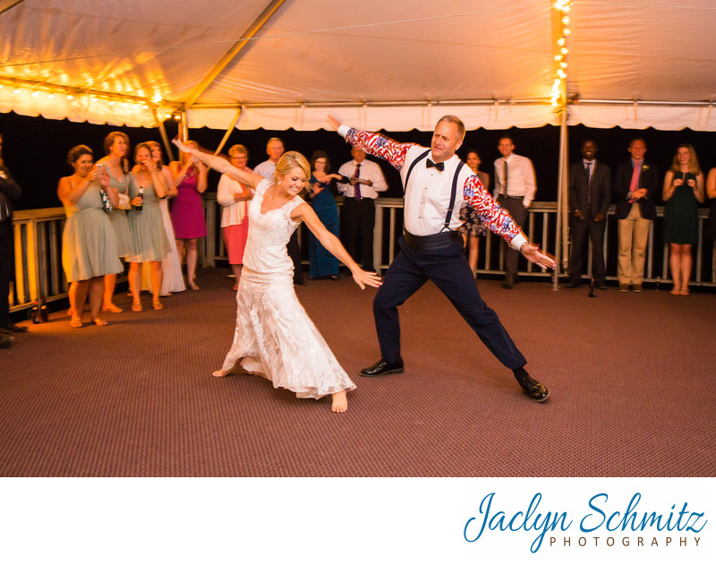 surprise first dance summer camp wedding