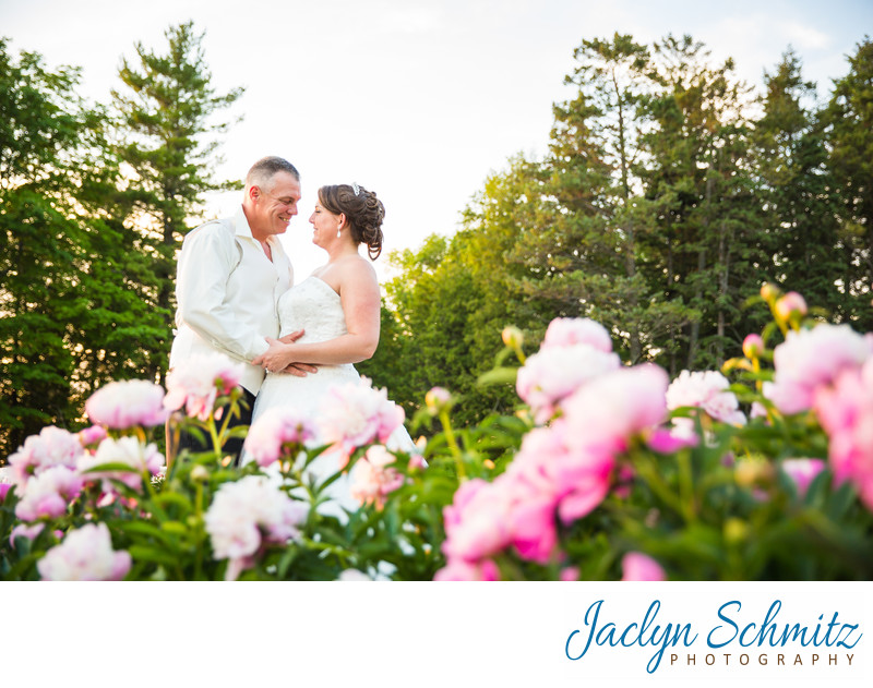 Rose garden Shelburne Farms wedding portraits