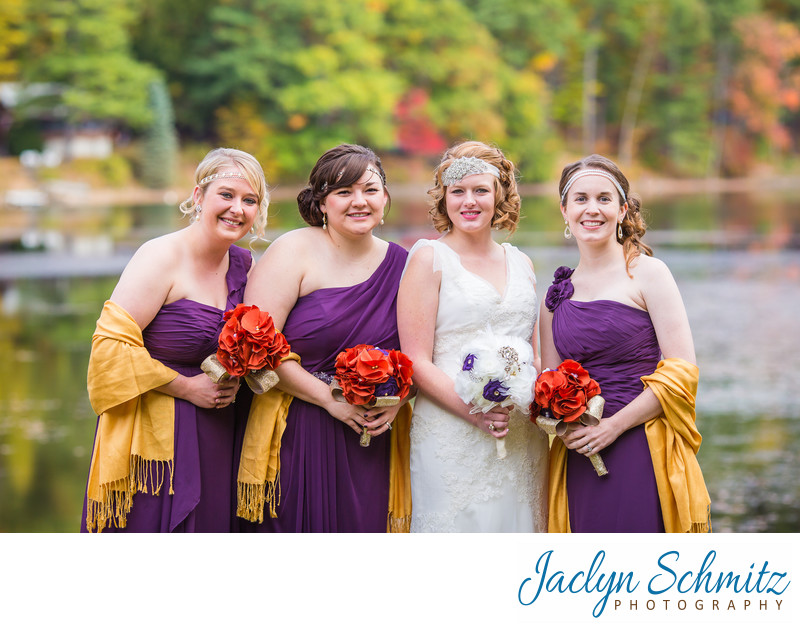 purple and gold Gatsby bridesmaids