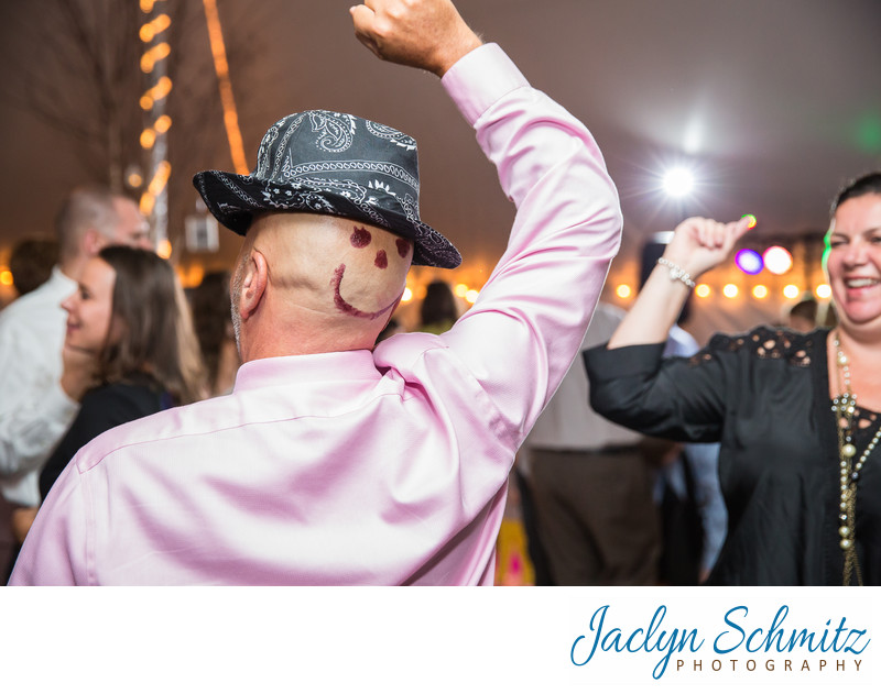 crazy wedding guests on the dance floor