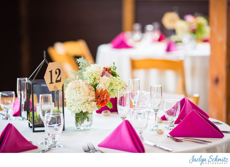 Fuchsia and white wedding decor