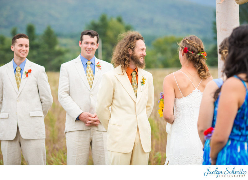 Orange and blue groomsmen color accents