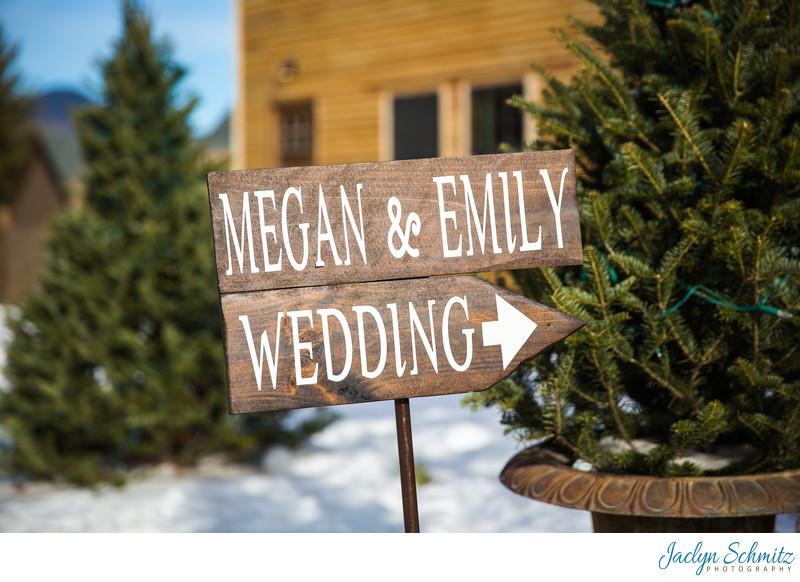 Evergreens and snow winter wedding VT