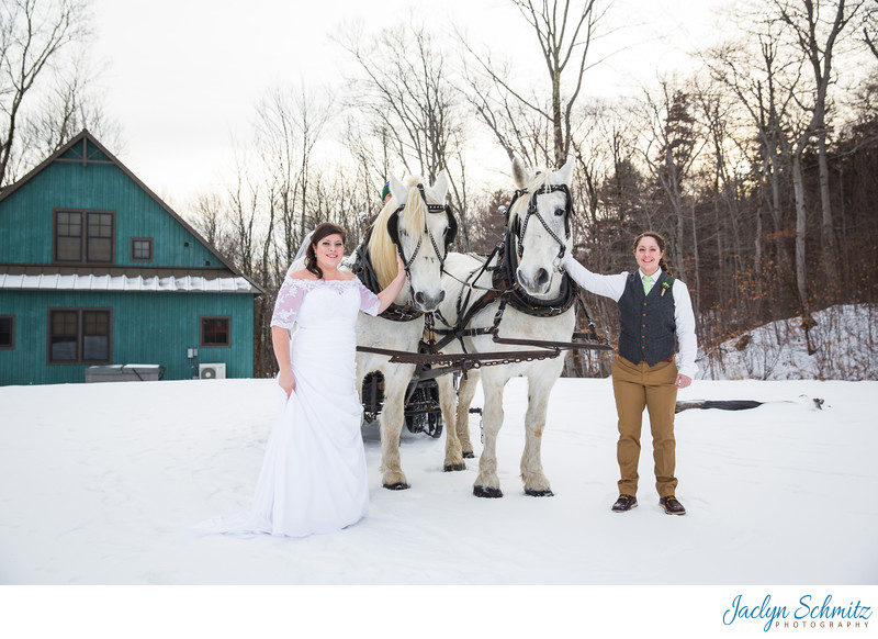 Sleigh winter wedding VT