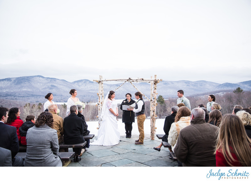 Terrace wedding ceremony Mountain Top Inn