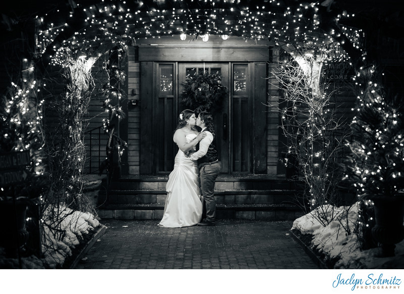 Twinkle lights wedding portrait