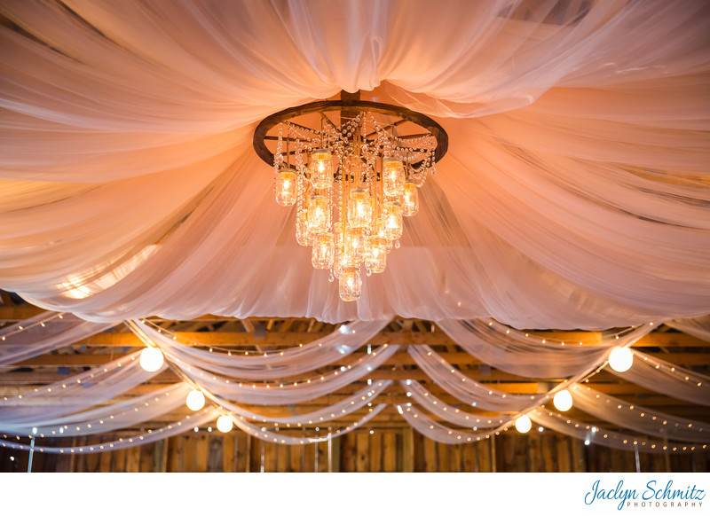 Wheel spoke mason jar wedding chandelier DIY