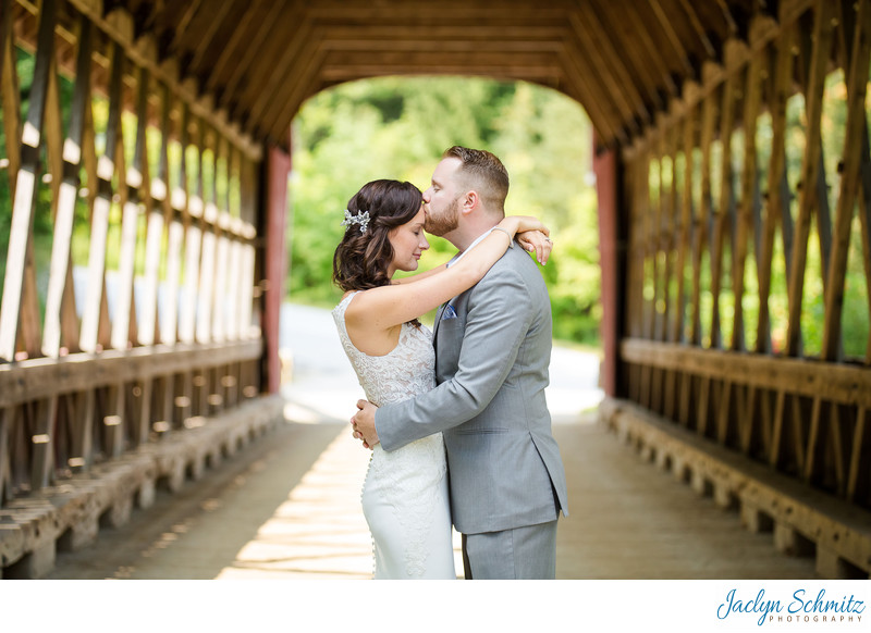 Pretty covered bridge wedding