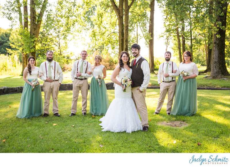 Mint Green and White Rustic wedding party