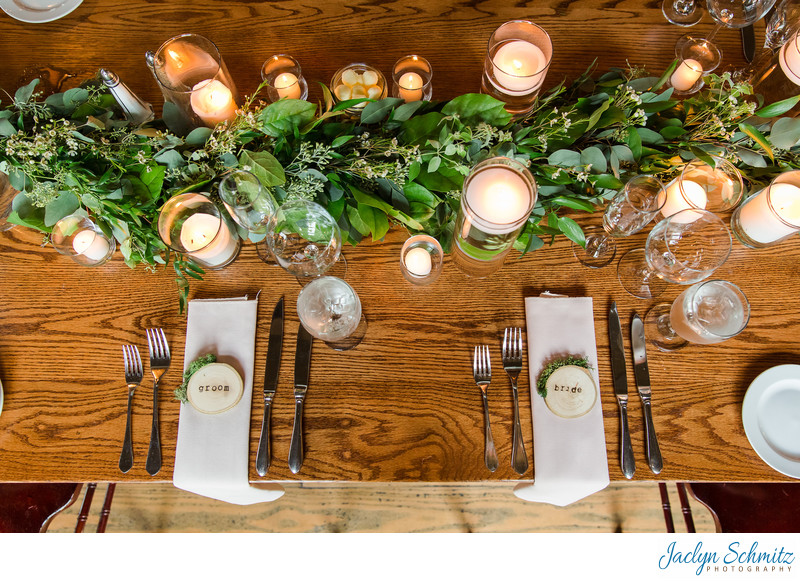 Green table garland wedding decor