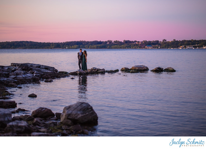 Sunset engagement portraits near Burlington VT