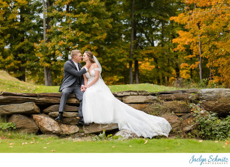 Fall foliage wedding photos Indiana