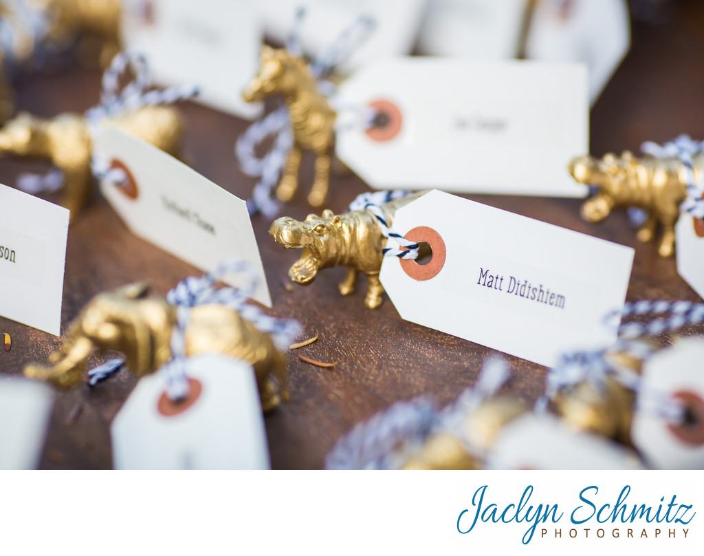 gold animal figurine wedding place cards