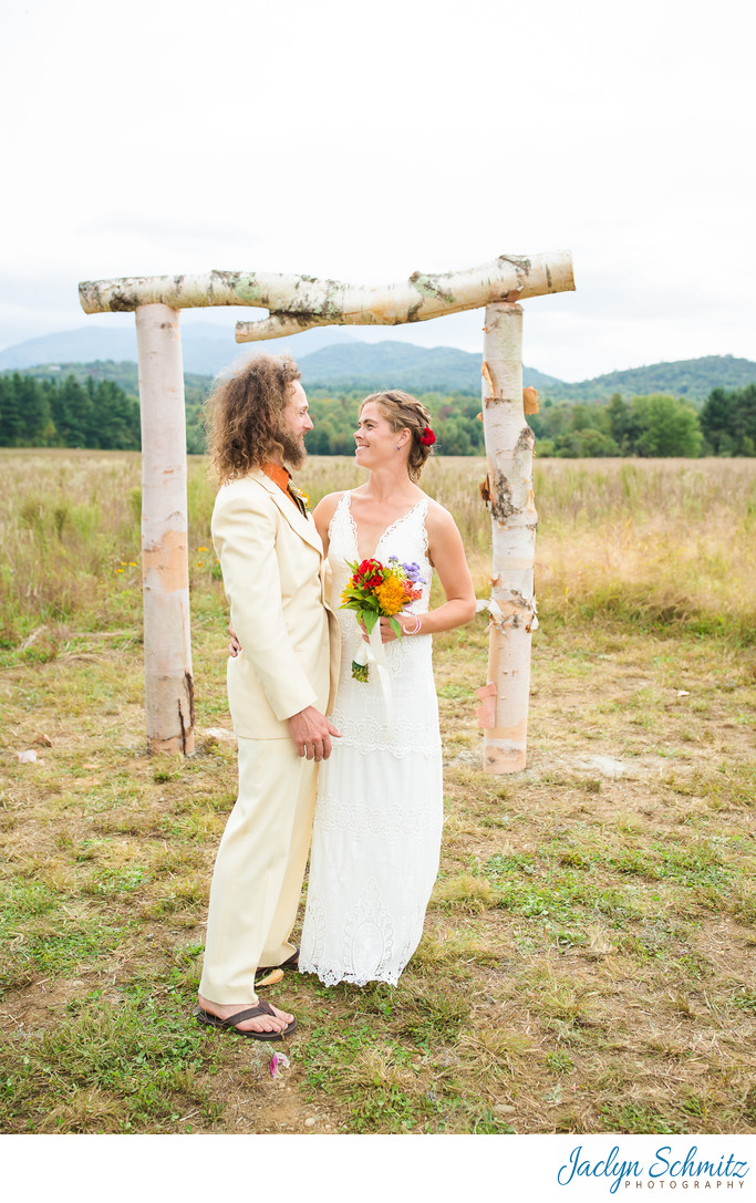 Modern rustic VT wedding arbor