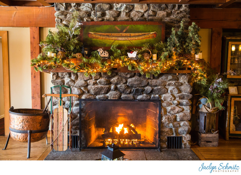 Grand stone fireplace Mountain Top Inn wedding