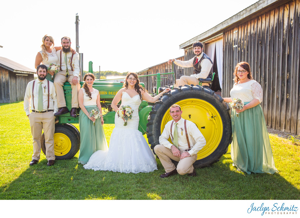 Tractor wedding party photo VT