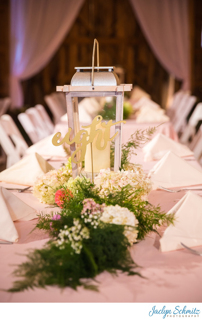 White lantern wedding decor