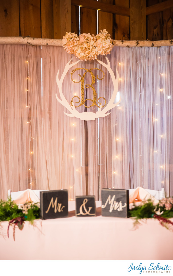 Pink and white antler head table wedding ideas - Jaclyn Schmitz ...