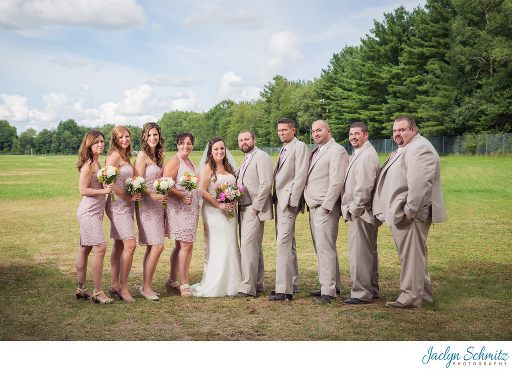 Pink and tan wedding party color scheme
