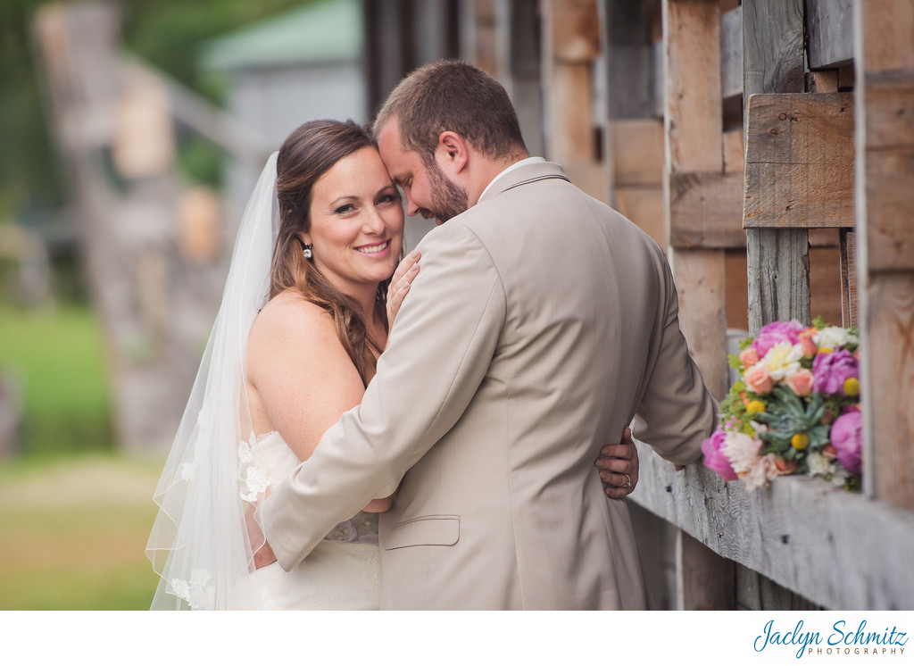 Horse stall wedding portraits VT