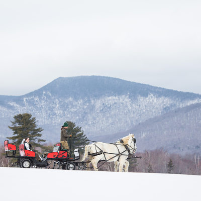 Sleigh ride wedding at Mountain top Inn