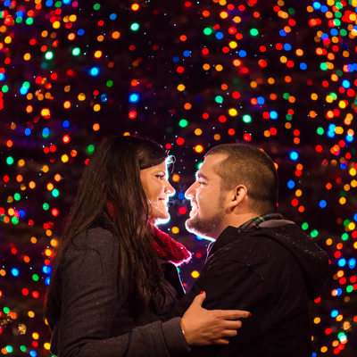 Burlington Christmas Tree Engagement Session VT