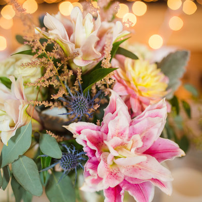 Pink lily wedding flowers
