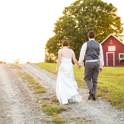 Red barn wedding sunset VT
