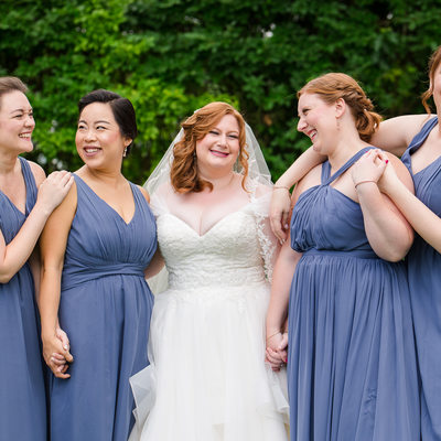 Fun wedding bridesmaids portraits