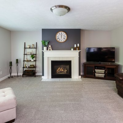 Updated contemporary fireplace in family room
