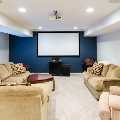 Basement movie theater real estate photography