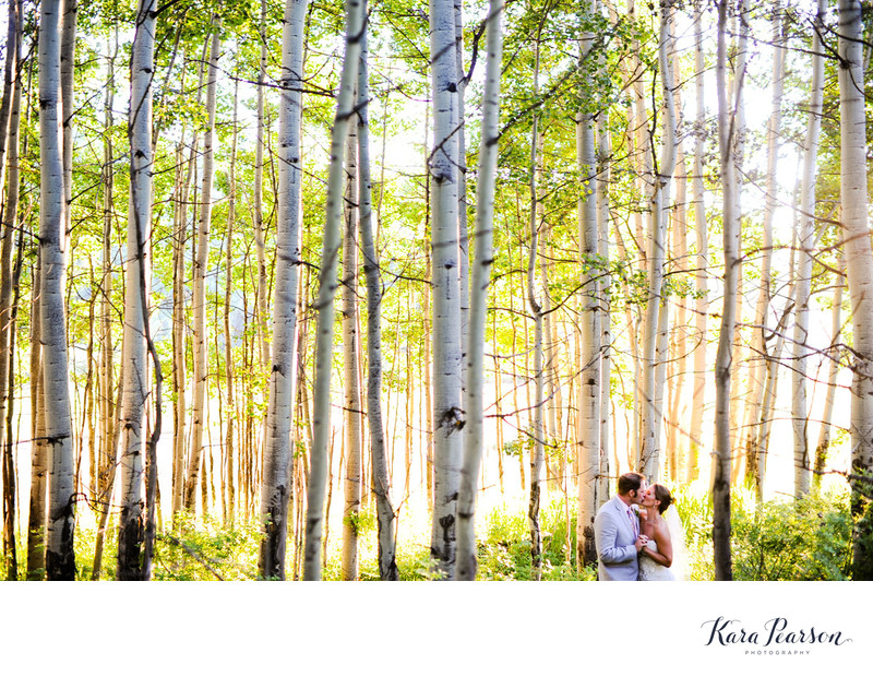 Wedding Portrait With Aspen Trees In Vail