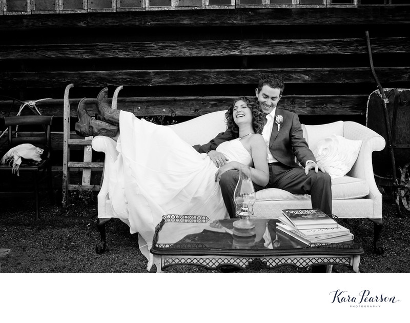 Barn At Evergreen Wedding Portrait