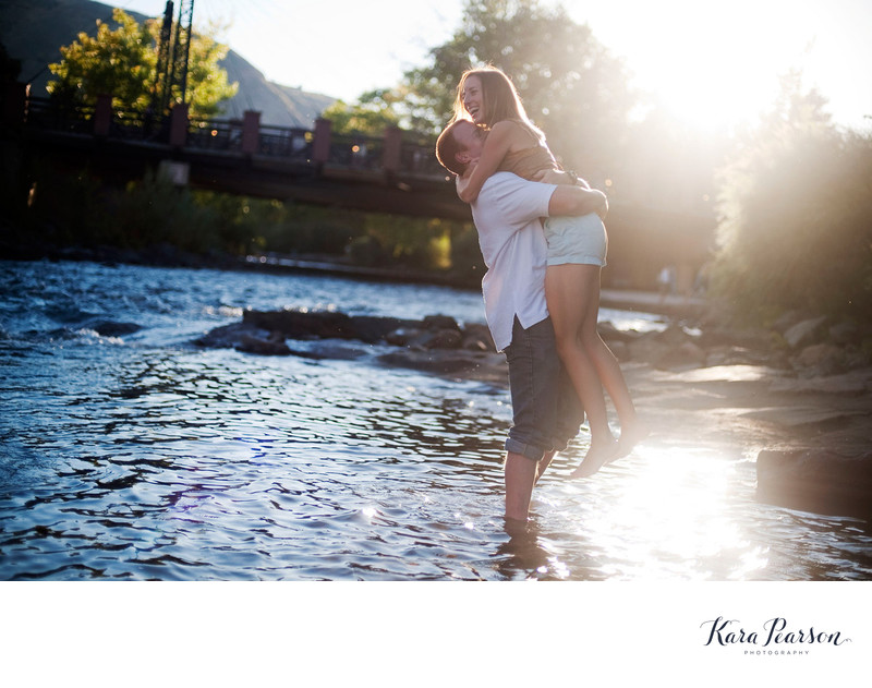 Golden Colorado Engagement Portrait In River