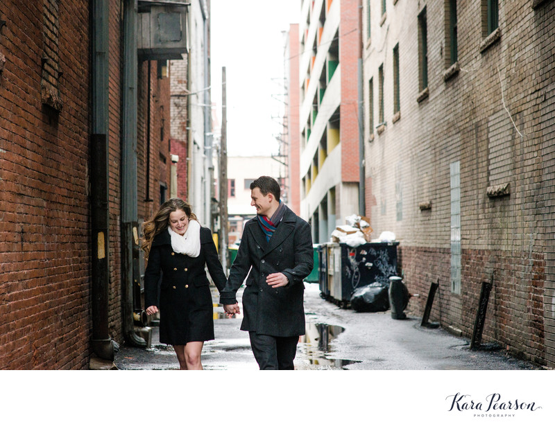 Alleyway Engagement Portrait In Denver