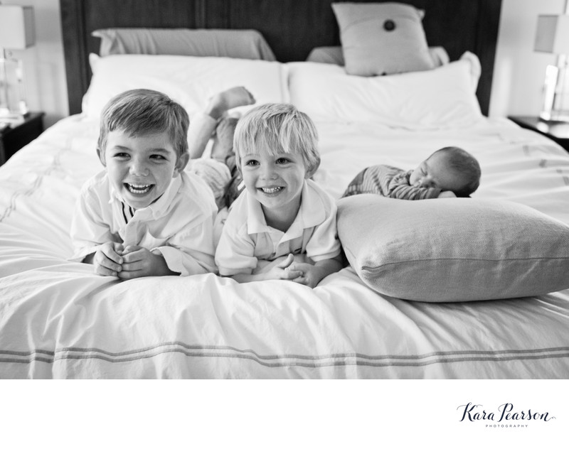 Brothers With Newborn Brother Portrait