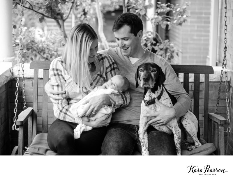 Family Photograph With Newborn and Dog At Home