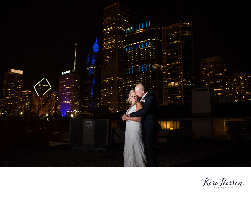 Nighttime Chicago Wedding Portrait