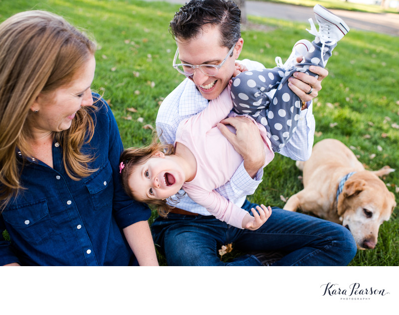 Fun family portraits in The Highlands neighborhood
