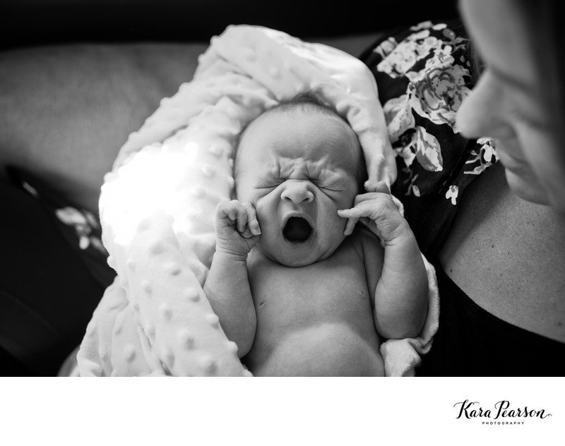 Newborn Baby Yawns - Best Denver Newborn Photographer