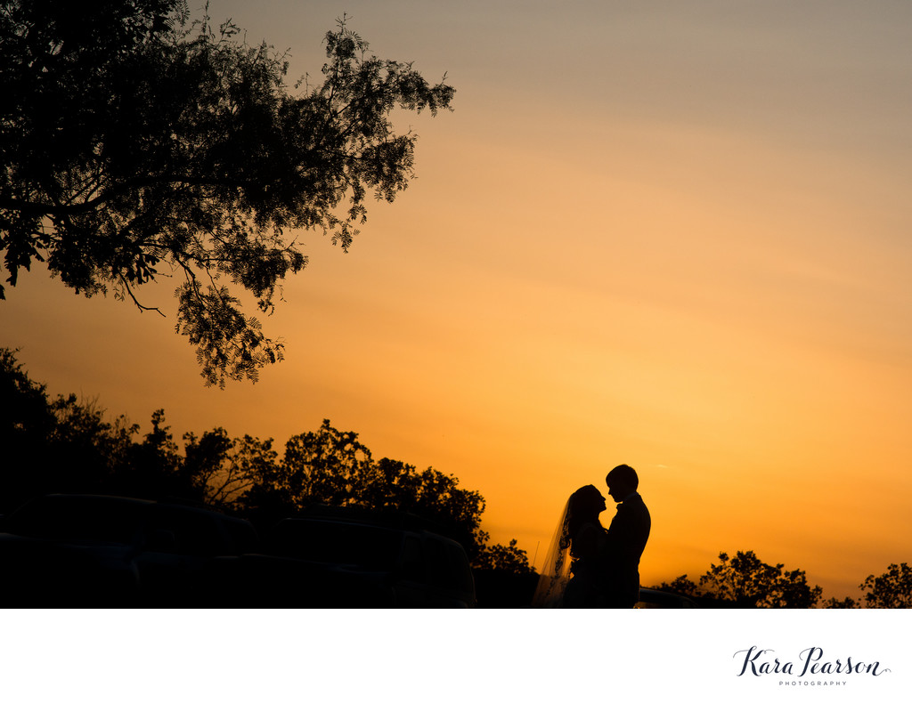 Sunset Wedding Portrait At Barr Mansion In Austin Texas