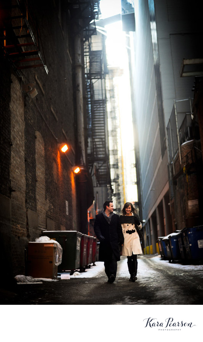 Engagement Portrait In Chicago Alley