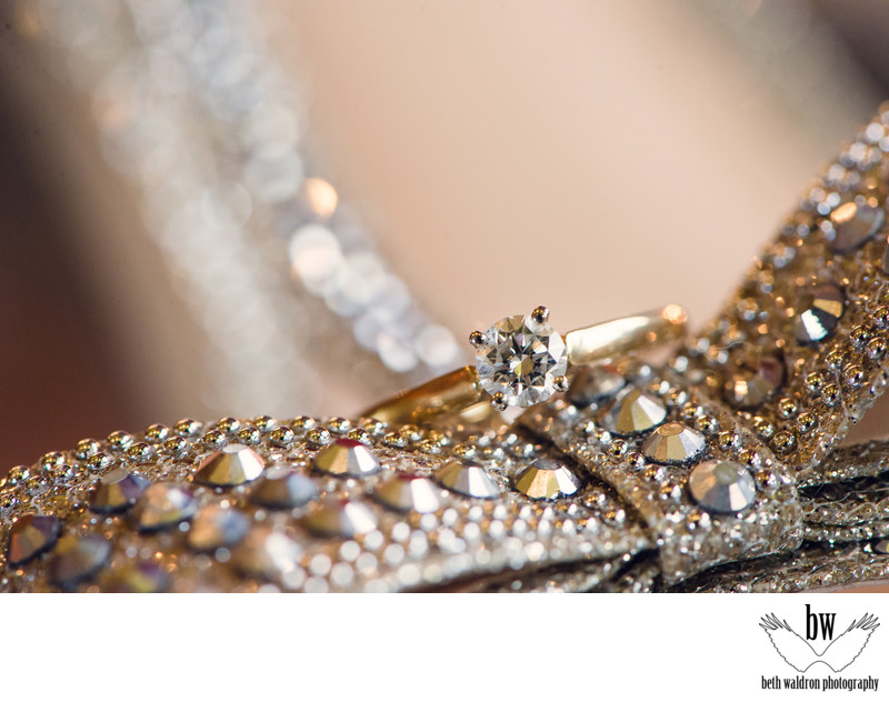Sparkly ring and shoe shot abq wedding photographer