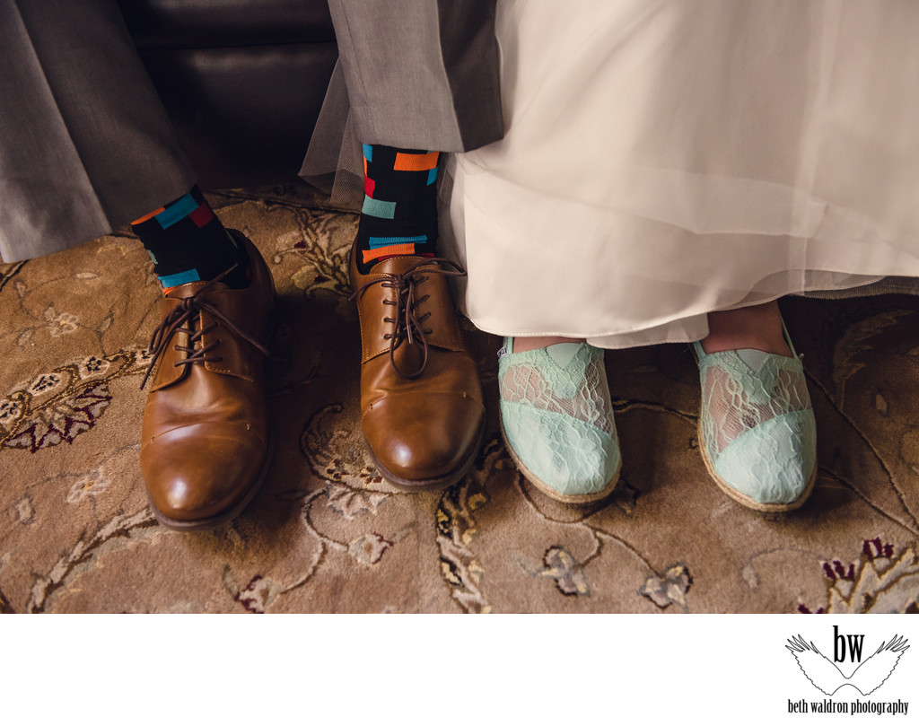 New Mexico bride and groom shoes