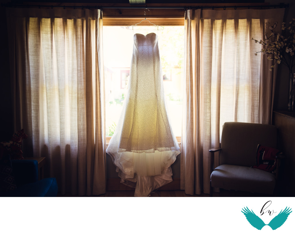 Albuquerque wedding photographer dress in window