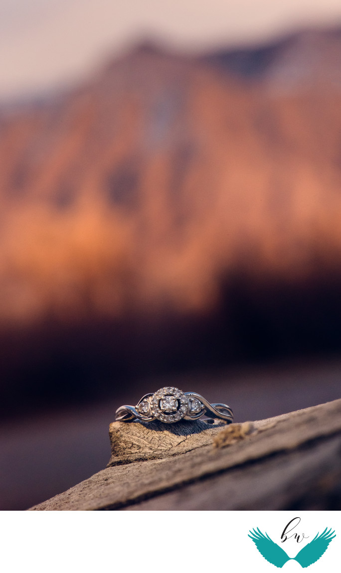 Corrales bosque sunset engagement ring shot