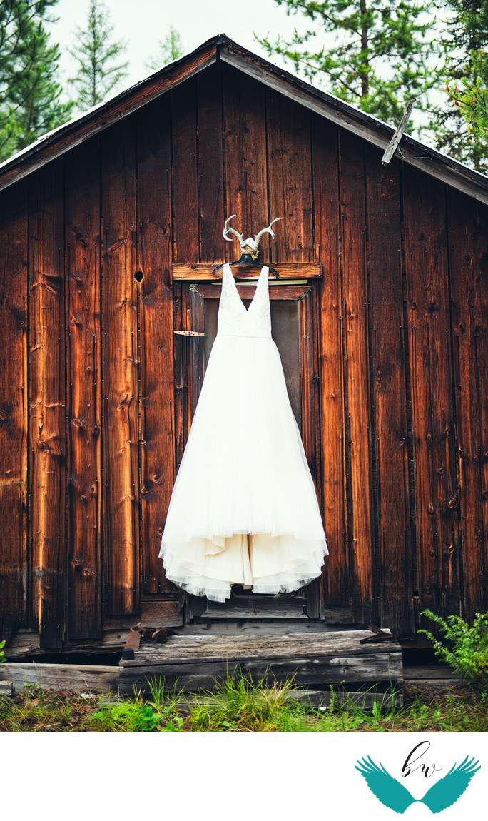 Wedding dress on barn antlers outdoors