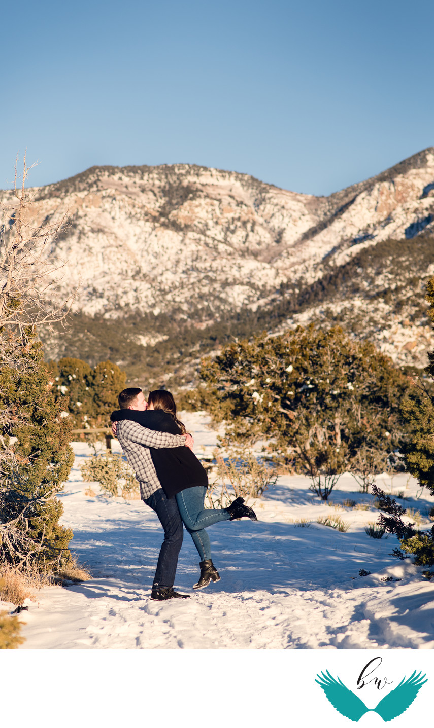 Sandia foothills snow engagement session