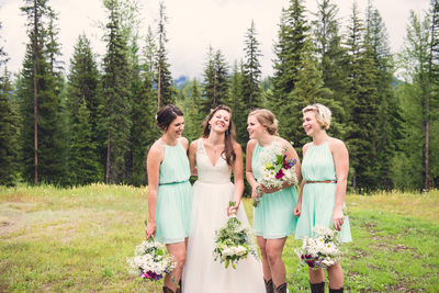 Outdoor wedding bridesmaids boots